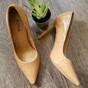 JustFab Lyssa Nude Stiletto Heels Shoes New 9.5